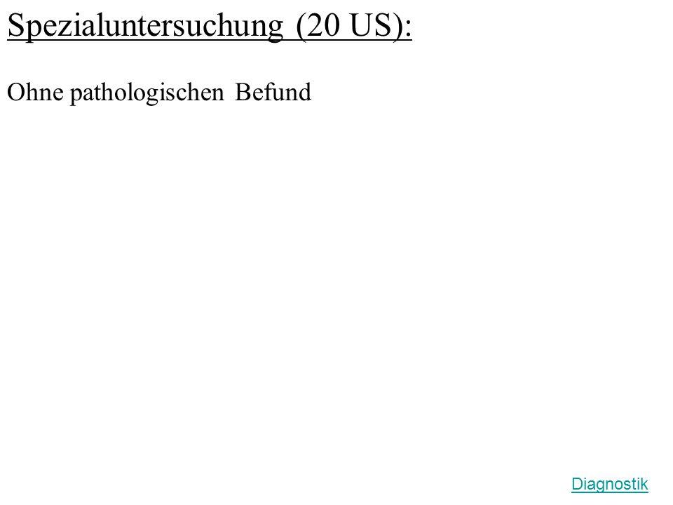 Abdomen Sonographie (5 US): Normal große Leber mit regelrechtem Parenchym- reflexmuster.