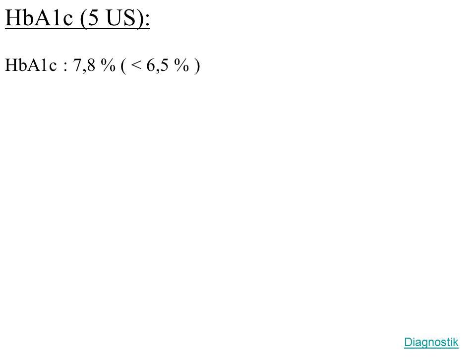 HbA1c (5 US): HbA1c : 7,8 % ( < 6,5 % ) Diagnostik
