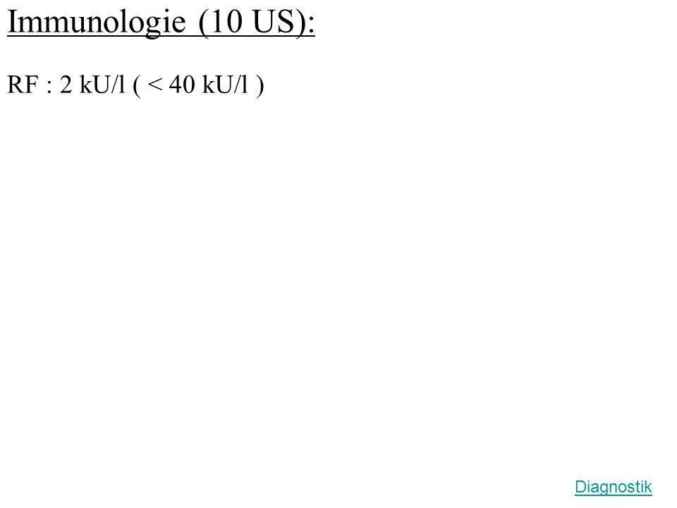 Immunologie (10 US): RF : 2 kU/l ( < 40 kU/l ) Diagnostik