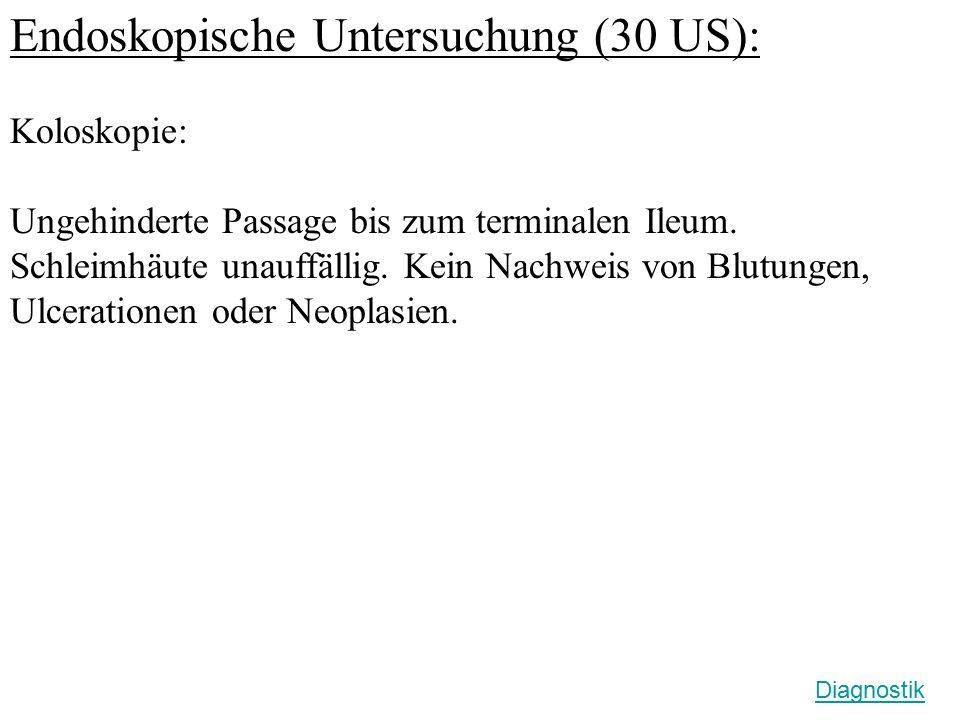 Endoskopische Untersuchung (30 US): Koloskopie: Ungehinderte Passage bis zum terminalen Ileum. Schleimhäute unauffällig. Kein Nachweis von Blutungen,