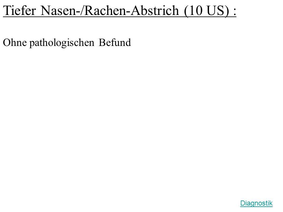 Tiefer Nasen-/Rachen-Abstrich (10 US) : Ohne pathologischen Befund Diagnostik