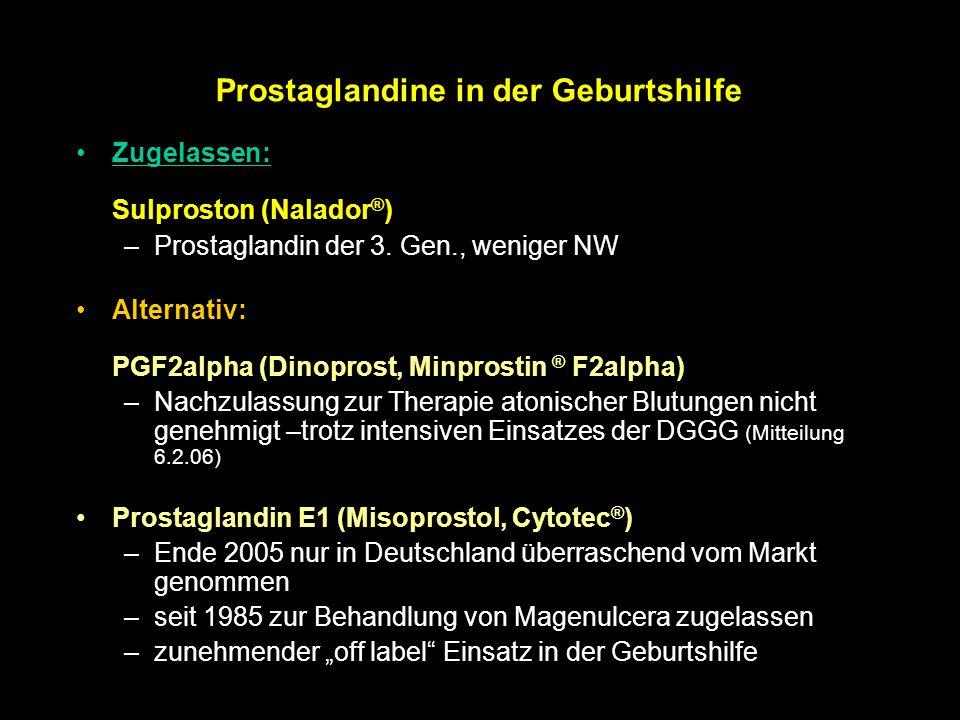 Prostaglandine in der Geburtshilfe Zugelassen: Sulproston (Nalador ® ) –Prostaglandin der 3. Gen., weniger NW Alternativ: PGF2alpha (Dinoprost, Minpro