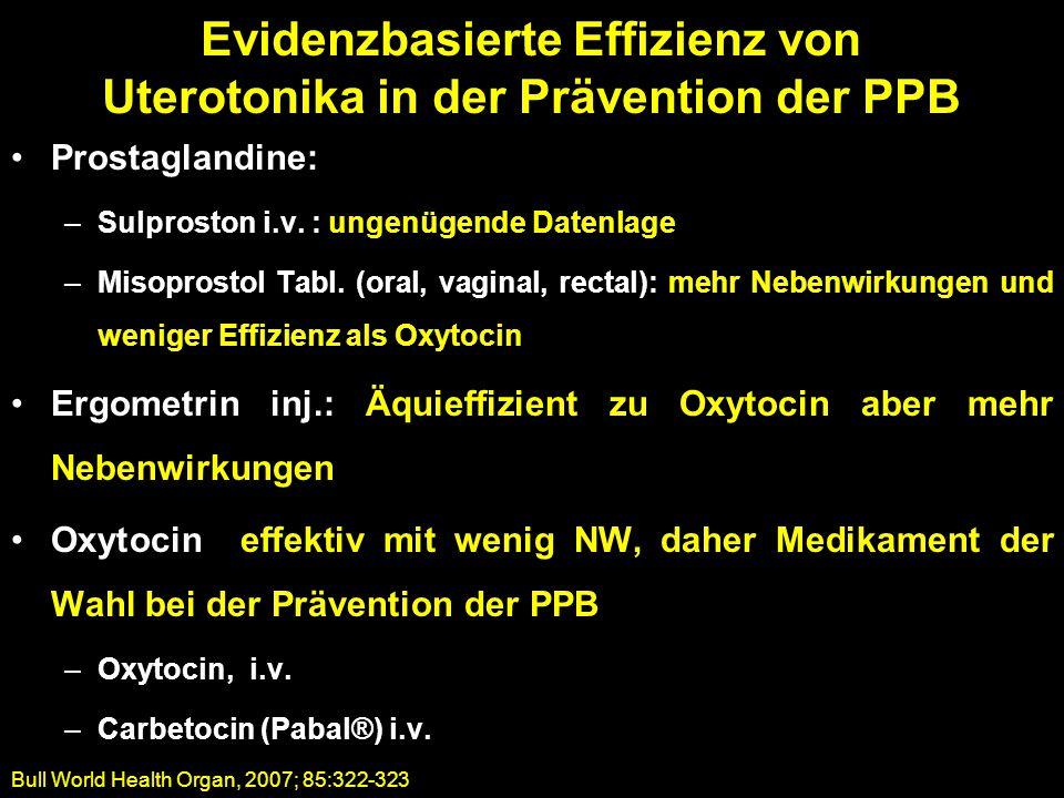 Prostaglandine: –Sulproston i.v. : ungenügende Datenlage –Misoprostol Tabl. (oral, vaginal, rectal): mehr Nebenwirkungen und weniger Effizienz als Oxy