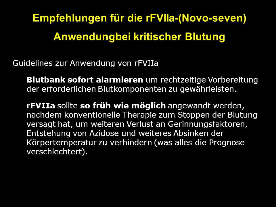 Empfehlungen für die rFVIIa-(Novo-seven) Anwendungbei kritischer Blutung Guidelines zur Anwendung von rFVIIa 1)Blutbank sofort alarmieren um rechtzeitige Vorbereitung der erforderlichen Blutkomponenten zu gewährleisten.