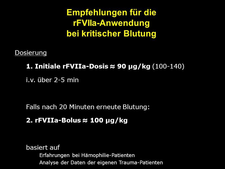 Empfehlungen für die rFVIIa-Anwendung bei kritischer Blutung Dosierung 1. Initiale rFVIIa-Dosis ≈ 90 µg/kg (100-140) i.v. über 2-5 min Falls nach 20 M