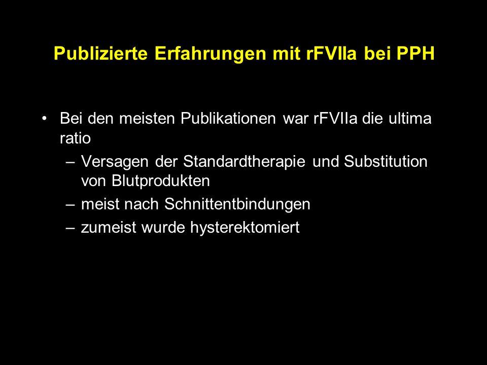 Publizierte Erfahrungen mit rFVIIa bei PPH Bei den meisten Publikationen war rFVIIa die ultima ratio –Versagen der Standardtherapie und Substitution von Blutprodukten –meist nach Schnittentbindungen –zumeist wurde hysterektomiert