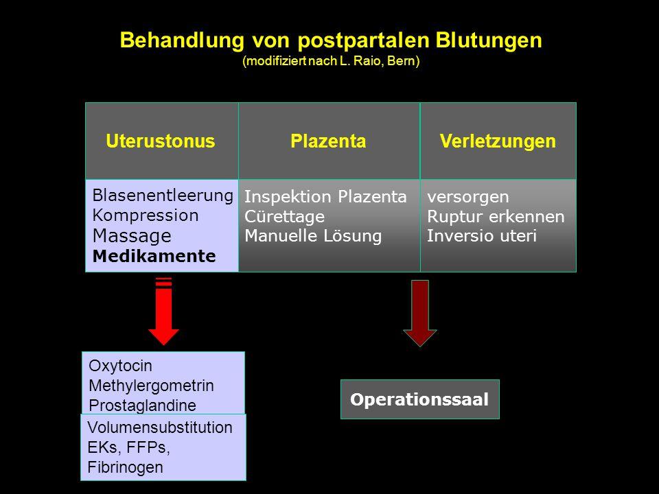 Inspektion Plazenta Cürettage Manuelle Lösung versorgen Ruptur erkennen Inversio uteri Blasenentleerung Kompression Massage Medikamente UterustonusPla