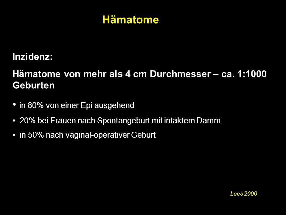 Inzidenz: Hämatome von mehr als 4 cm Durchmesser – ca.