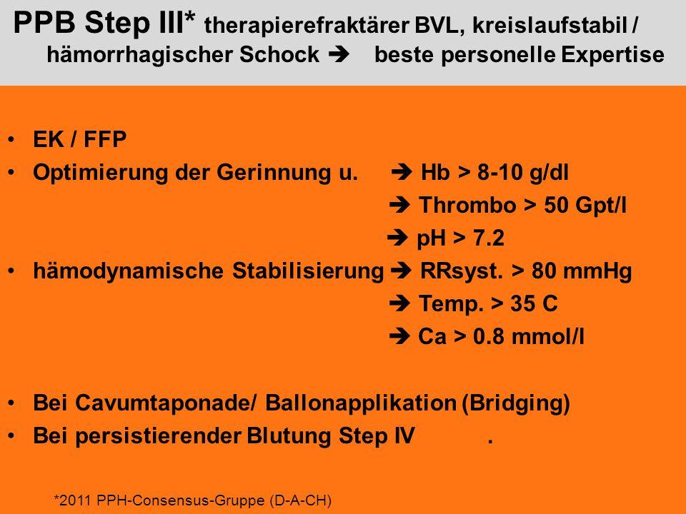 PPB Step III* therapierefraktärer BVL, kreislaufstabil / hämorrhagischer Schock  beste personelle Expertise EK / FFP Optimierung der Gerinnung u. 
