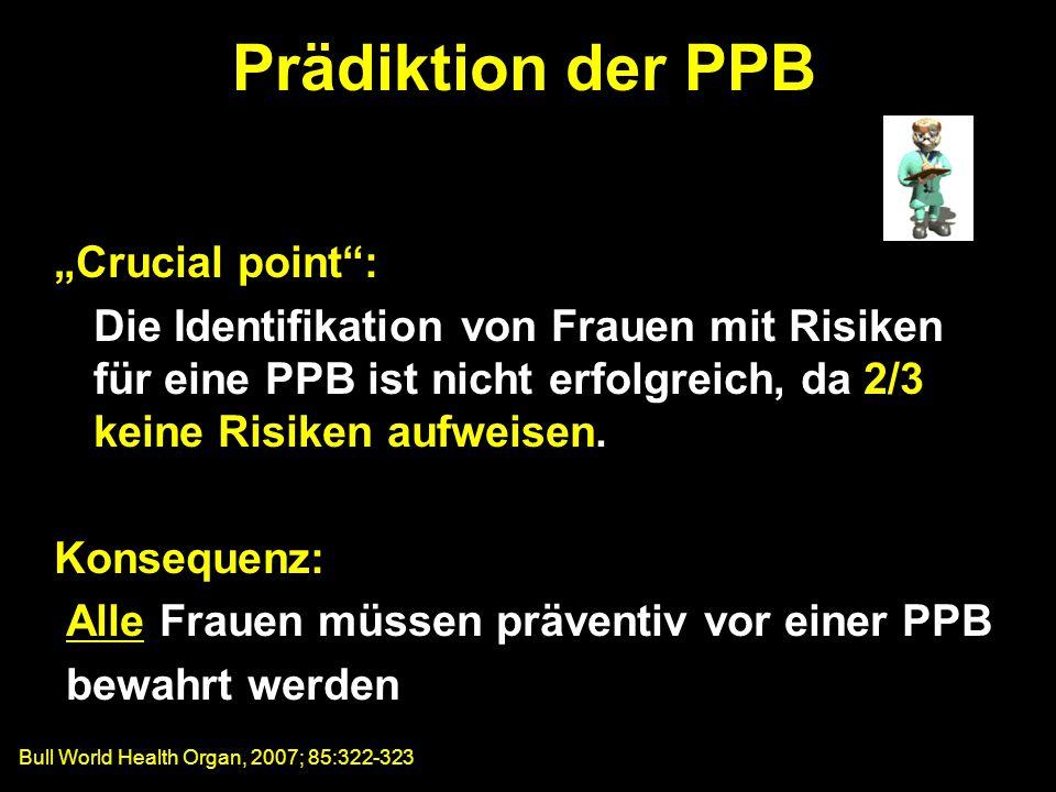 """""""Crucial point : Die Identifikation von Frauen mit Risiken für eine PPB ist nicht erfolgreich, da 2/3 keine Risiken aufweisen."""