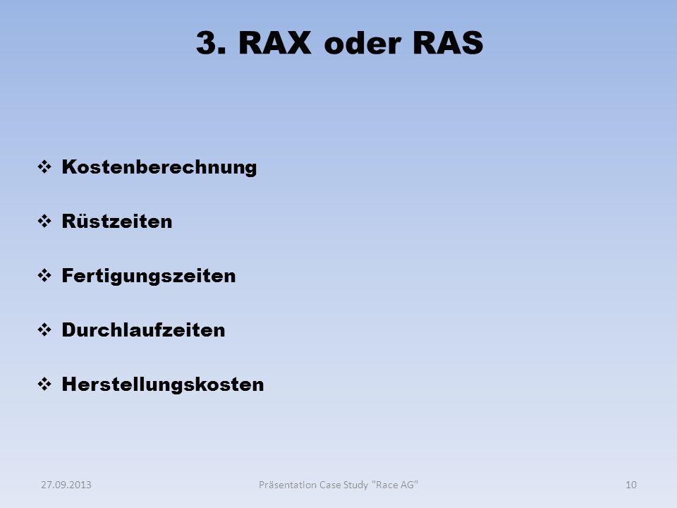 3. RAX oder RAS  Kostenberechnung  Rüstzeiten  Fertigungszeiten  Durchlaufzeiten  Herstellungskosten 1027.09.2013Präsentation Case Study
