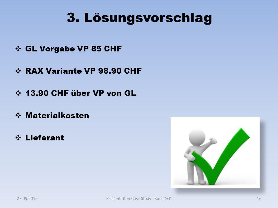 3. Lösungsvorschlag  GL Vorgabe VP 85 CHF  RAX Variante VP 98.90 CHF  13.90 CHF über VP von GL  Materialkosten  Lieferant 1627.09.2013Präsentatio
