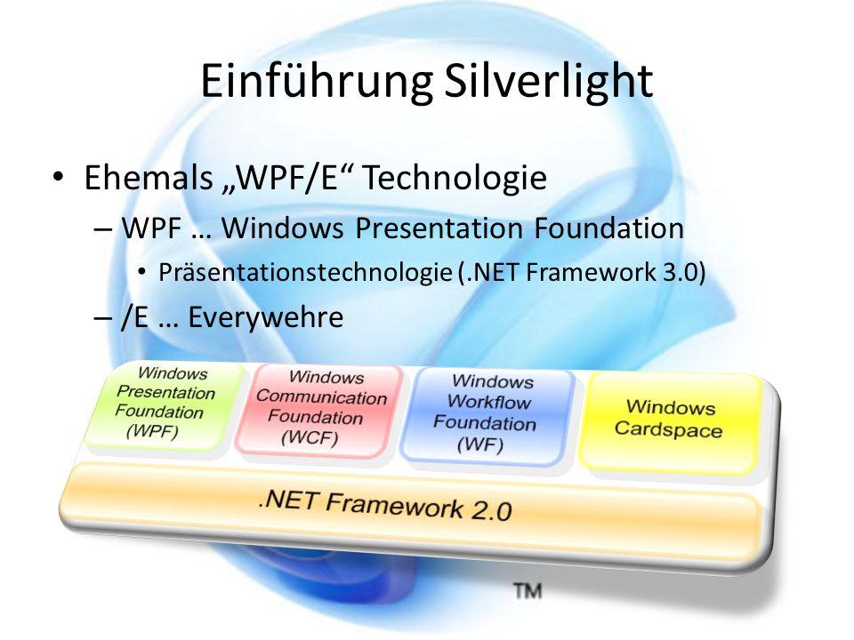 Einführung Silverlight Ziel: – WPF auf andere Plattformen zu bringen Definition: – Browser – bzw.