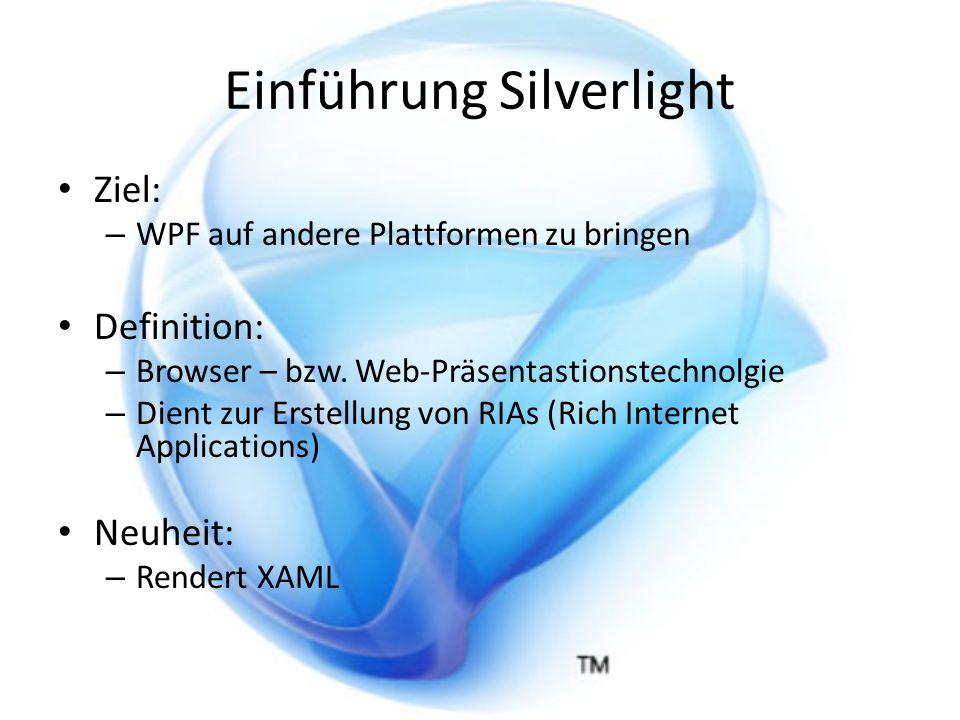 Einführung XAML XAML … Extended Application Markup Language XML basierte Sprache Verwendung: – Grafische Elemente – Benutzeroberflächen – Animationen – Darstellung Farbverläufe