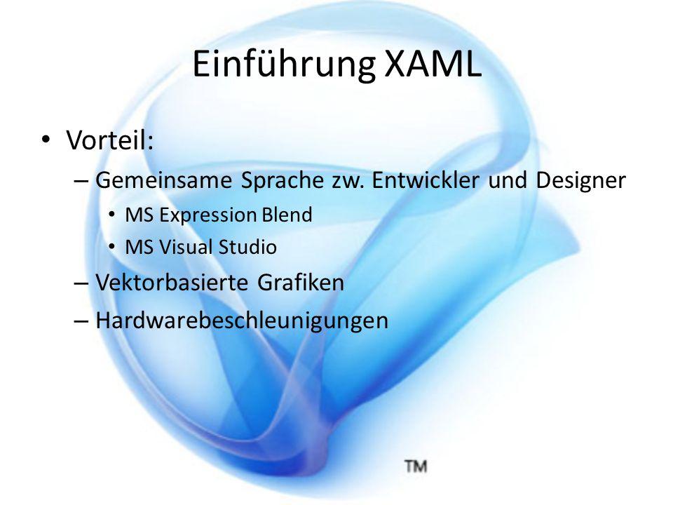 Einführung XAML Beispielcode XAML