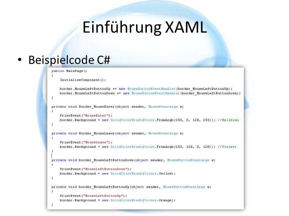 Einführung XAML Beispielcode C#