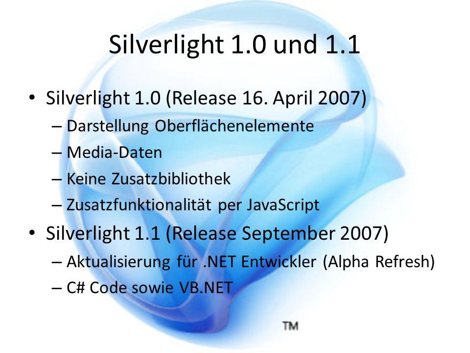 Silverlight 1.0 und 1.1 Silverlight 1.0 (Release 16.