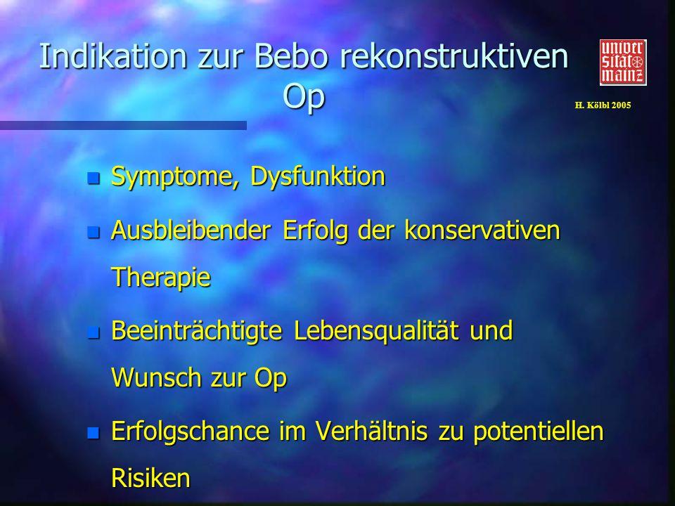 H. Kölbl 2005 Indikation zur Bebo rekonstruktiven Op n Symptome, Dysfunktion n Ausbleibender Erfolg der konservativen Therapie n Beeinträchtigte Leben
