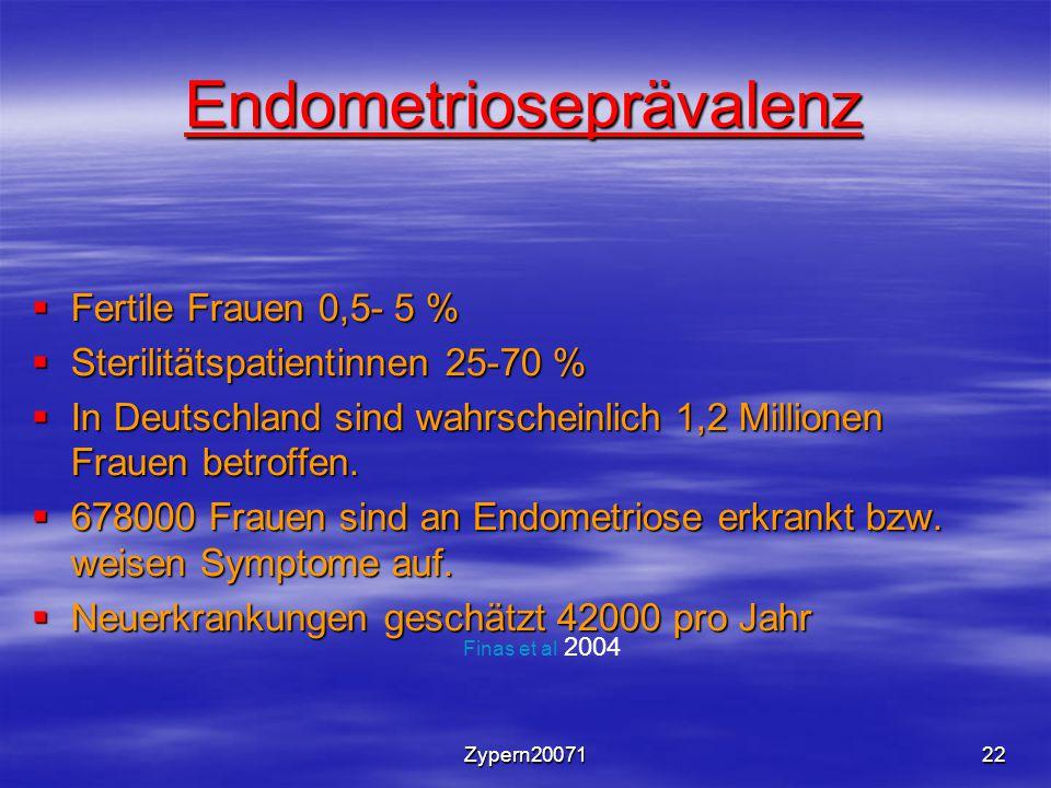 Zypern2007122 Endometrioseprävalenz  Fertile Frauen 0,5- 5 %  Sterilitätspatientinnen 25-70 %  In Deutschland sind wahrscheinlich 1,2 Millionen Fra