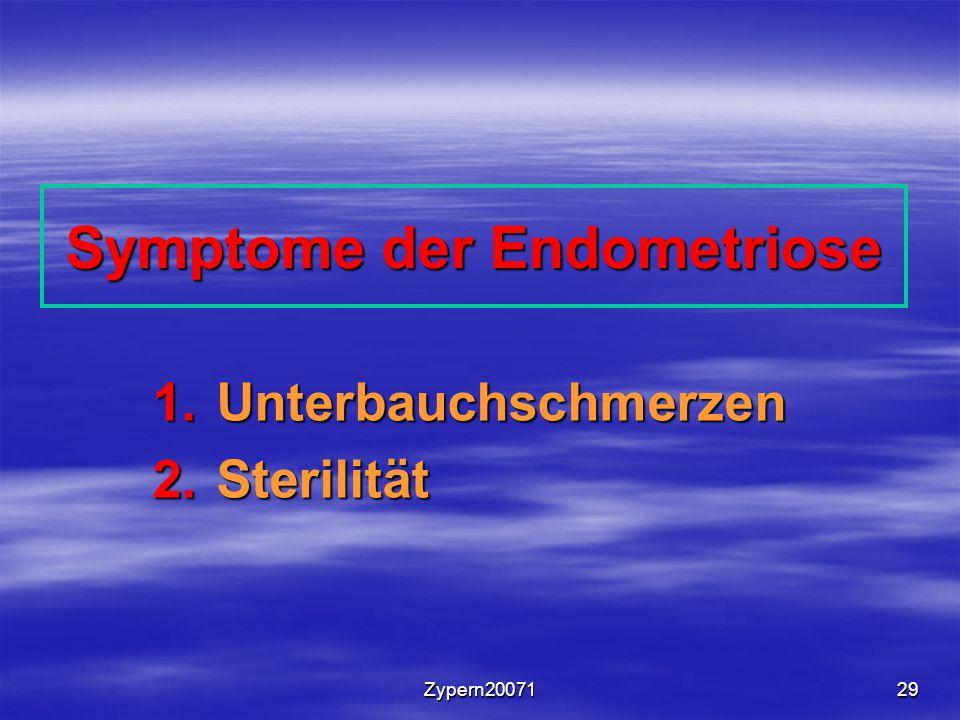 Zypern2007129 Symptome der Endometriose 1.Unterbauchschmerzen 2.Sterilität