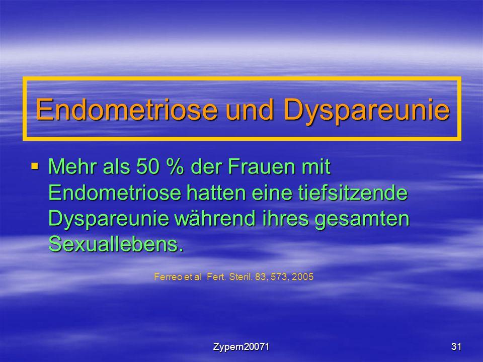 Zypern2007131 Endometriose und Dyspareunie  Mehr als 50 % der Frauen mit Endometriose hatten eine tiefsitzende Dyspareunie während ihres gesamten Sexuallebens.