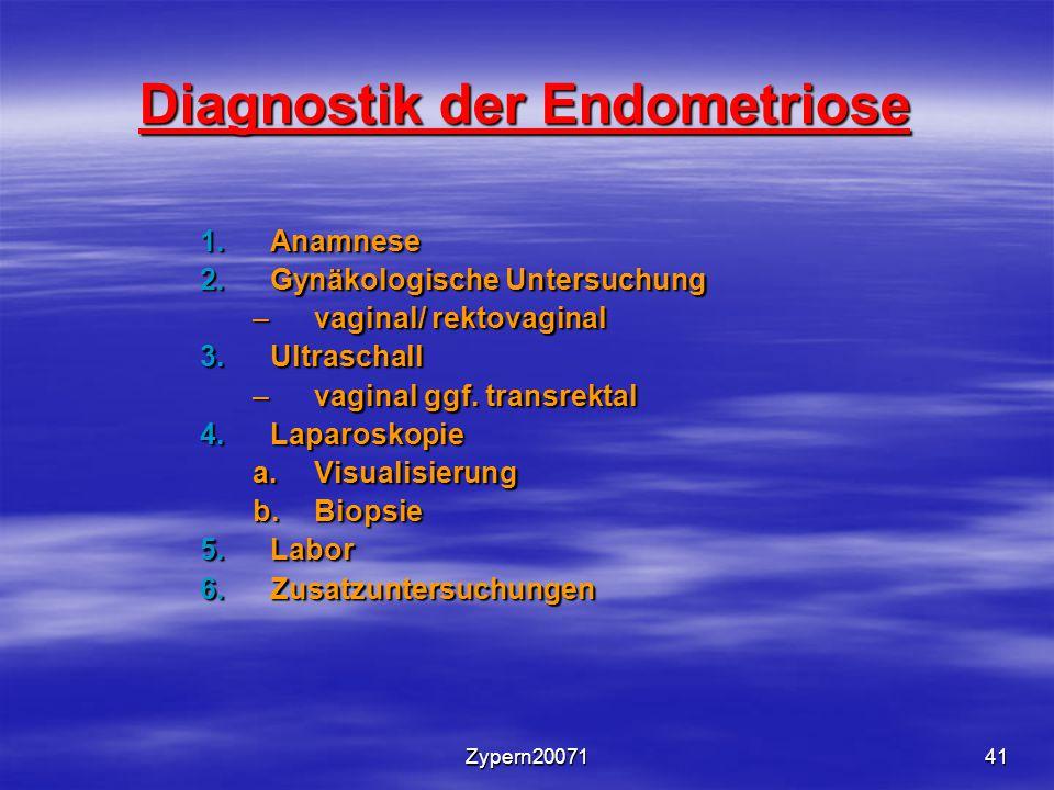 Zypern2007141 Diagnostik der Endometriose 1.Anamnese 2.Gynäkologische Untersuchung –vaginal/ rektovaginal 3.Ultraschall –vaginal ggf. transrektal 4.La