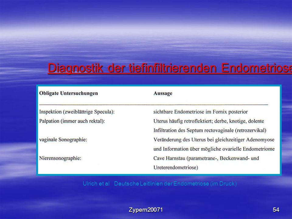 Zypern2007154 Diagnostik der tiefinfiltrierenden Endometriose Ulrich et al Deutsche Leitlinien der Endometriose (im Druck)