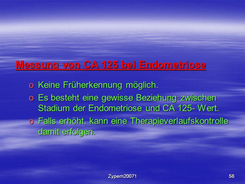 Zypern2007156 Messung von CA 125 bei Endometriose oKeine Früherkennung möglich. oEs besteht eine gewisse Beziehung zwischen Stadium der Endometriose u