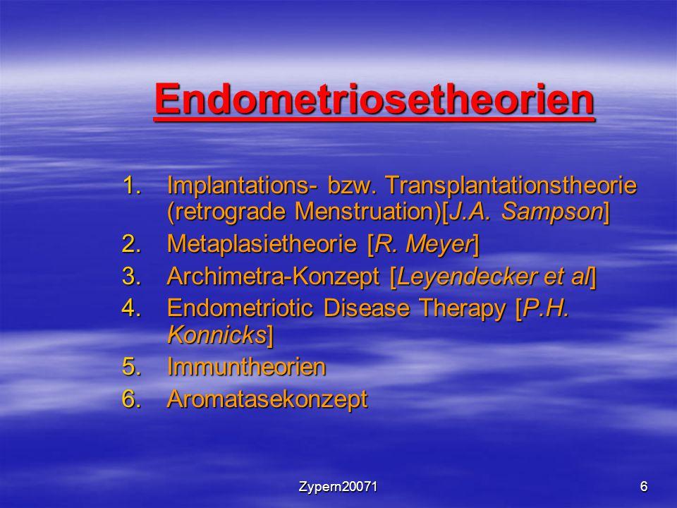 Zypern200716 Endometriosetheorien 1.Implantations- bzw. Transplantationstheorie (retrograde Menstruation)[J.A. Sampson] 2.Metaplasietheorie [R. Meyer]