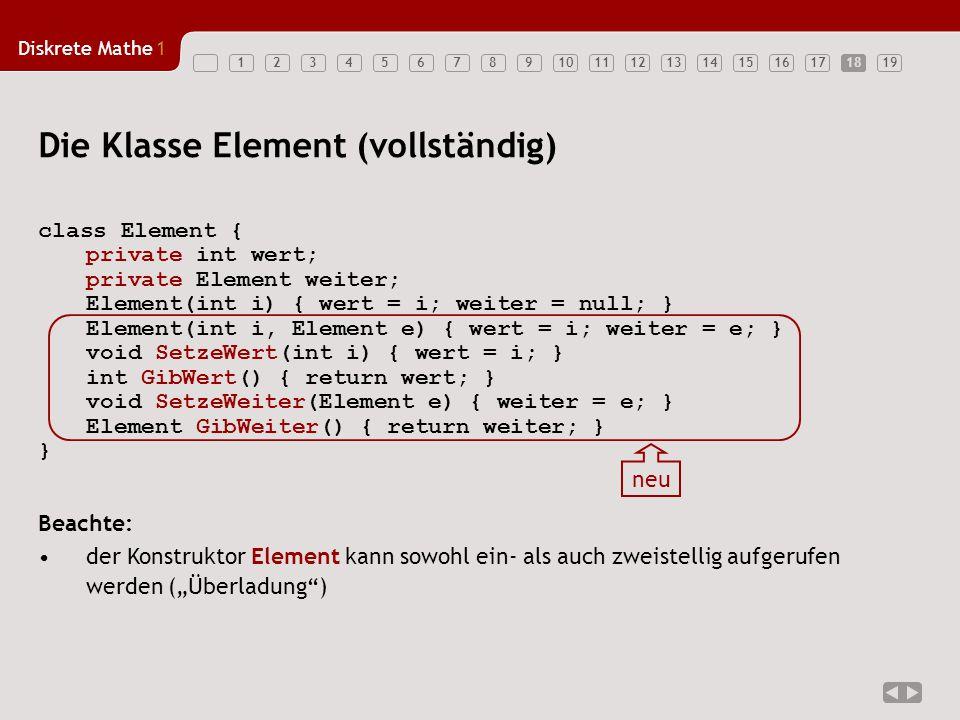 """Diskrete Mathe1 1234567891011121314151617181918 class Element { private int wert; private Element weiter; Element(int i) { wert = i; weiter = null; } Element(int i, Element e) { wert = i; weiter = e; } void SetzeWert(int i) { wert = i; } int GibWert() { return wert; } void SetzeWeiter(Element e) { weiter = e; } Element GibWeiter() { return weiter; } } Beachte: der Konstruktor Element kann sowohl ein- als auch zweistellig aufgerufen werden (""""Überladung ) Die Klasse Element (vollständig) neu"""