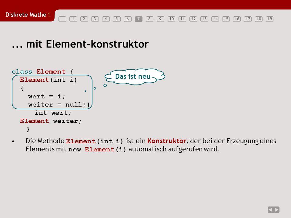 Diskrete Mathe1 123456789101112131415161718197... mit Element-konstruktor Das ist neu Die Methode Element(int i) ist ein Konstruktor, der bei der Erze