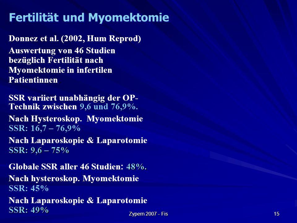 Zypern 2007 - Fis 15 Donnez et al. (2002, Hum Reprod). Auswertung von 46 Studien bezüglich Fertilität nach Myomektomie in infertilen Patientinnen. SSR