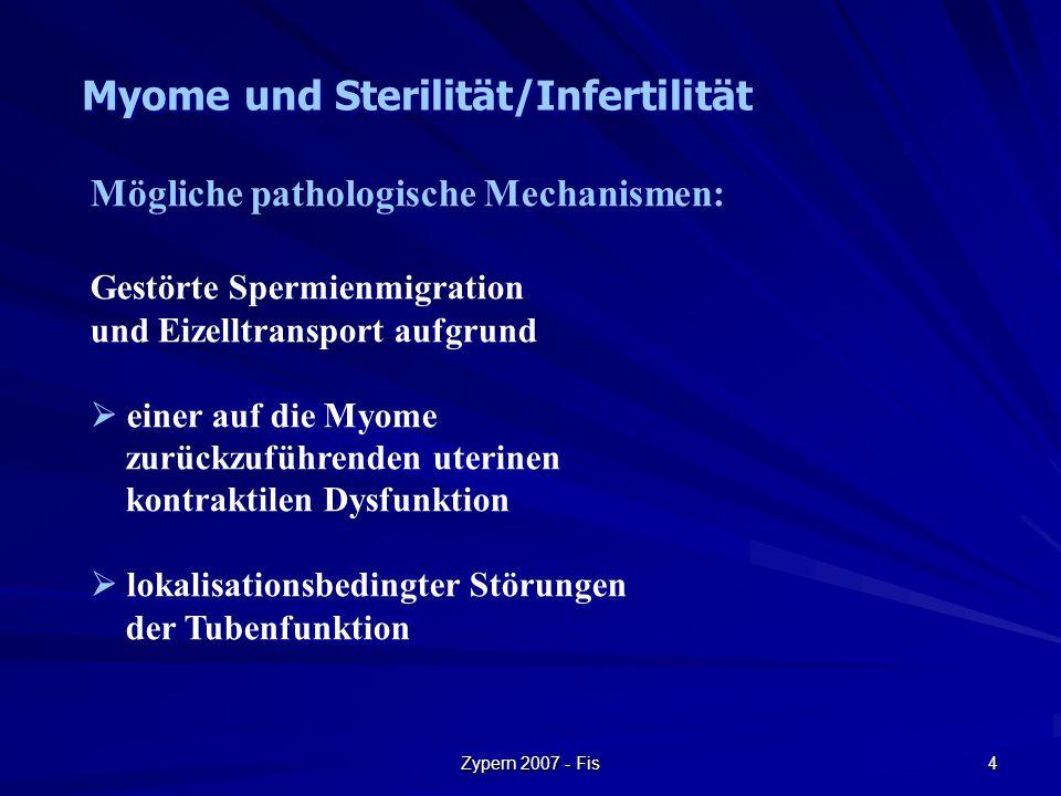 Zypern 2007 - Fis 4 Mögliche pathologische Mechanismen: Gestörte Spermienmigration und Eizelltransport aufgrund  einer auf die Myome zurückzuführende
