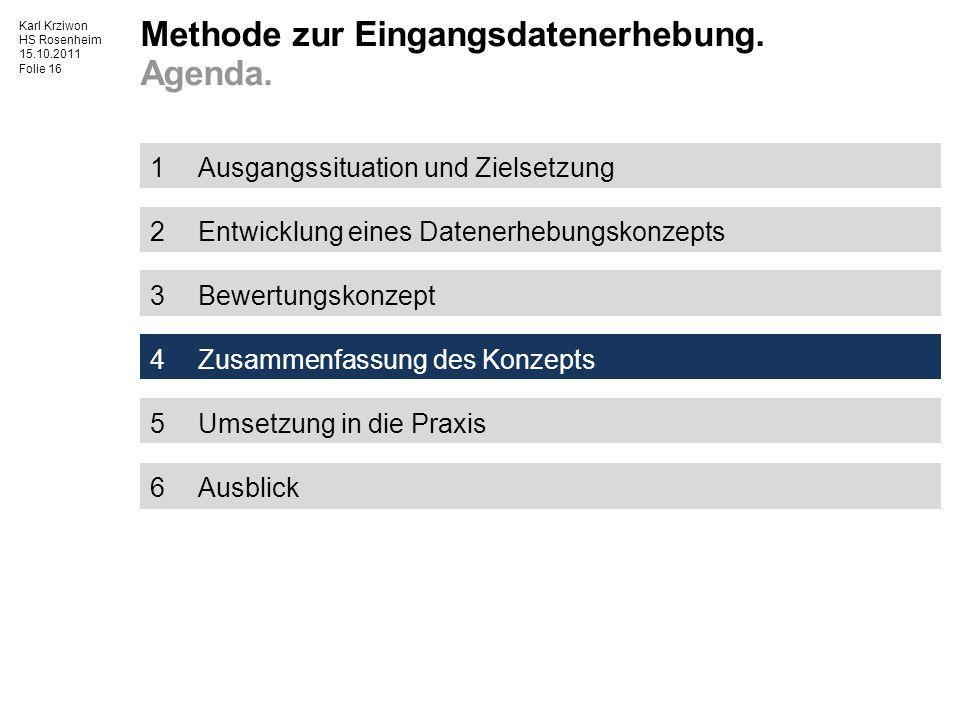 Karl Krziwon HS Rosenheim 15.10.2011 Folie 16 1Ausgangssituation und Zielsetzung 2Entwicklung eines Datenerhebungskonzepts 3Bewertungskonzept 4Zusammenfassung des Konzepts 5Umsetzung in die Praxis 6Ausblick Methode zur Eingangsdatenerhebung.