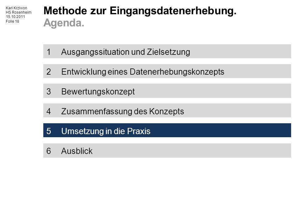 Karl Krziwon HS Rosenheim 15.10.2011 Folie 18 1Ausgangssituation und Zielsetzung 2Entwicklung eines Datenerhebungskonzepts 3Bewertungskonzept 4Zusammenfassung des Konzepts 5Umsetzung in die Praxis 6Ausblick Methode zur Eingangsdatenerhebung.