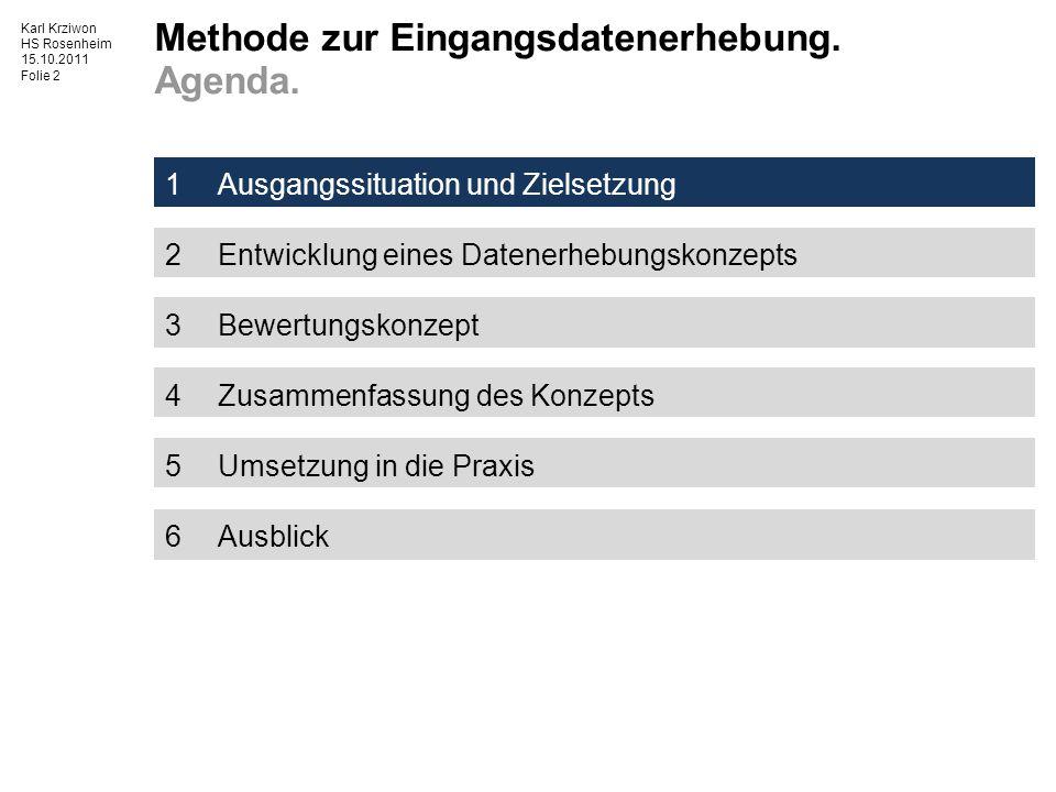 HS Rosenheim 15.10.2011 Folie 2 1Ausgangssituation und Zielsetzung 2Entwicklung eines Datenerhebungskonzepts 3Bewertungskonzept 4Zusammenfassung des Konzepts 5Umsetzung in die Praxis 6Ausblick Methode zur Eingangsdatenerhebung.