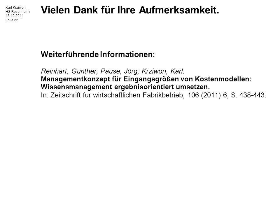 Karl Krziwon HS Rosenheim 15.10.2011 Folie 22 Vielen Dank für Ihre Aufmerksamkeit.