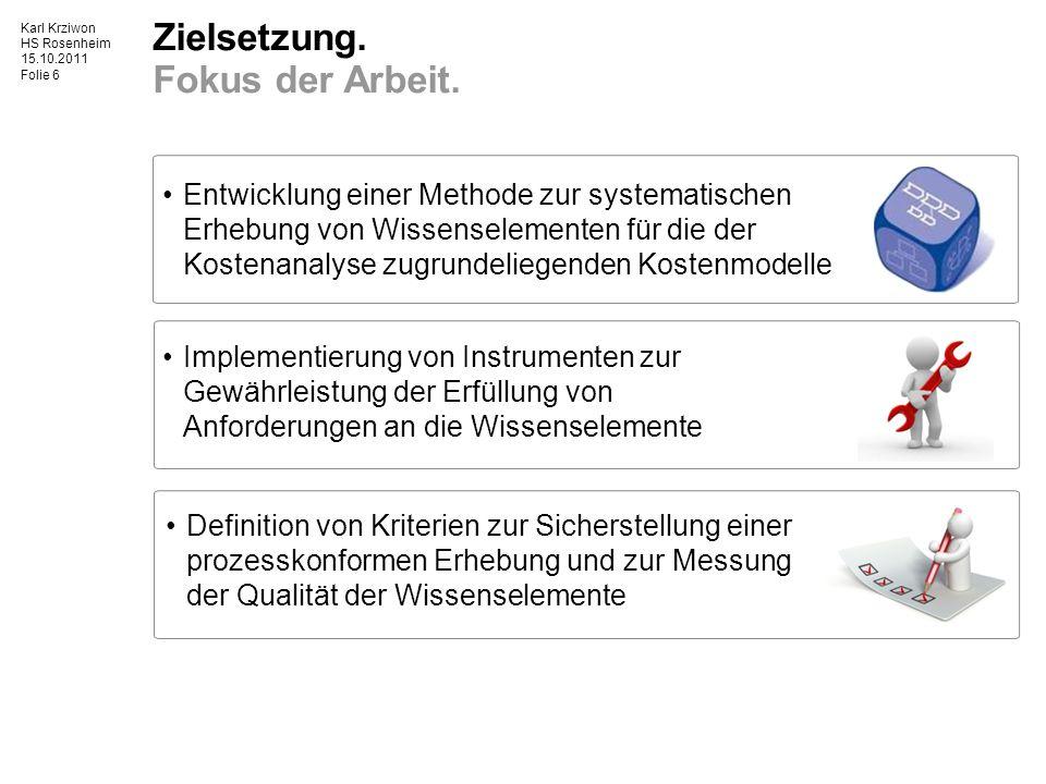 Karl Krziwon HS Rosenheim 15.10.2011 Folie 7 1Ausgangssituation und Zielsetzung 2Entwicklung eines Datenerhebungskonzepts 3Bewertungskonzept 4Zusammenfassung des Konzepts 5Umsetzung in die Praxis 6Ausblick Methode zur Eingangsdatenerhebung.