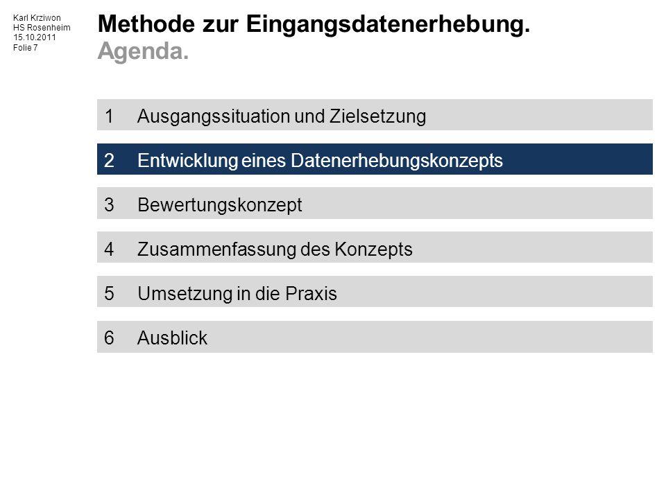 Karl Krziwon HS Rosenheim 15.10.2011 Folie 8 Kaufteil Vollkosten [€] Materialkosten [€] Fertigungskosten [€] Zuschlagskosten [€] MGK [%] RFK [%] OHK [%] Stundensatz Bediener [€/t] Stundensatz Maschine [€/t] Zyklus- zeit [t] Menge [kg] Preis [€/kg] Investition [€]Betriebskosten [€] Abschreibungs- dauer [t] Grad 1 Grad 2 Grad 3 Wissensbasis Grad 4 Anspruch für WM + x + + x Detailierungs- grad Transparenz QuellenvielfaltDatenqualität Eingangsdaten für Kalkulationen sind Wissen im Cost Eng.