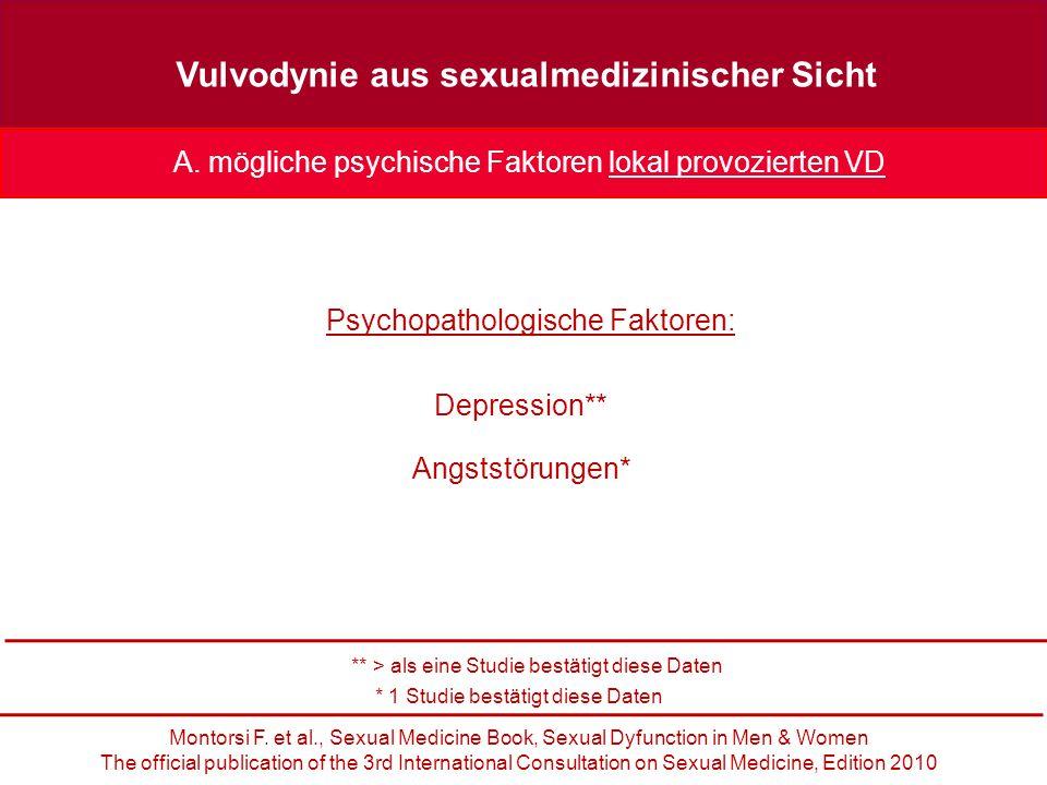 Vulvodynie aus sexualmedizinischer Sicht Depression** A.