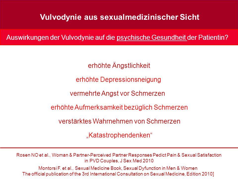 Vulvodynie aus sexualmedizinischer Sicht Auswirkungen der Vulvodynie auf die psychische Gesundheit der Patientin.