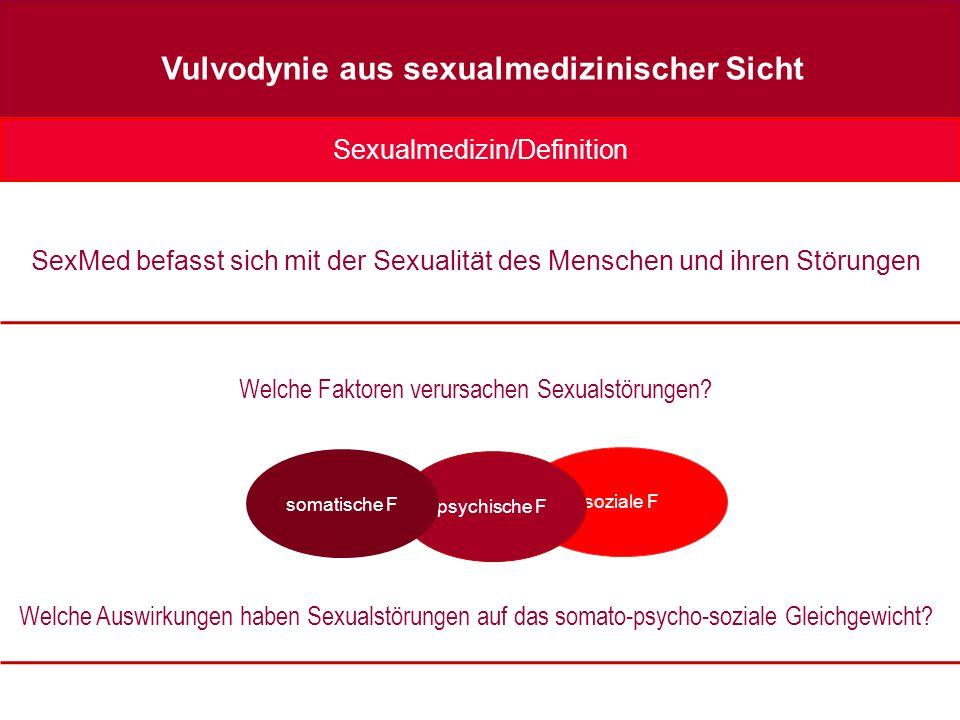 soziale F psychische F Sexualmedizin/Definition Vulvodynie aus sexualmedizinischer Sicht SexMed befasst sich mit der Sexualität des Menschen und ihren Störungen Welche Faktoren verursachen Sexualstörungen.