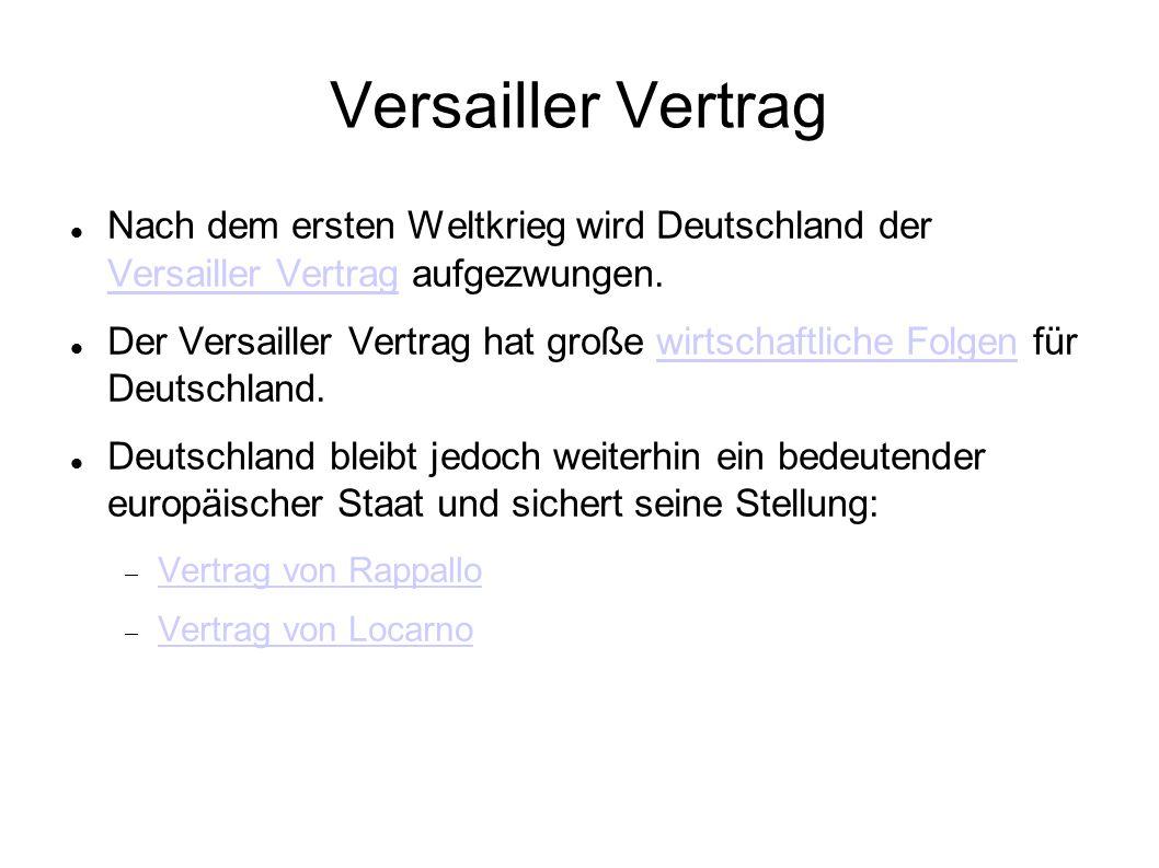 Versailler Vertrag Nach dem ersten Weltkrieg wird Deutschland der Versailler Vertrag aufgezwungen. Nach dem ersten Weltkrieg wird Deutschland der Vers