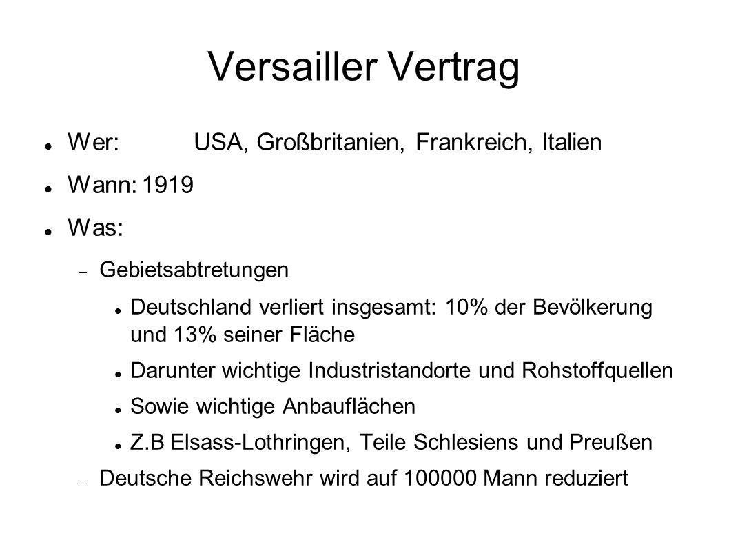 Versailler Vertrag Was:  Westliche Rheinseite wird entmilitarisiert  Hohe Reparationszahlungen an die Alliierten  Sofortige Güterlieferungen: Lokomotiven, Waggons, Schiffe, Kohle, Nutztiere, landwirtschafltiche Maschinen, usw...