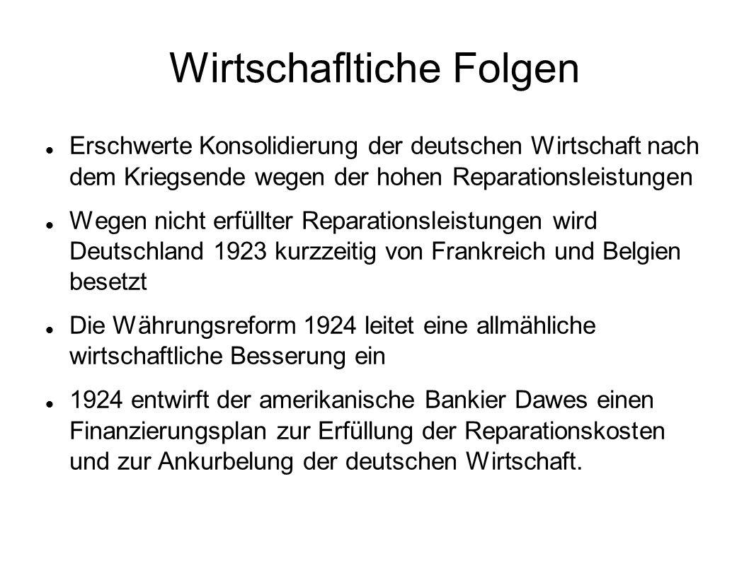 Wirtschafltiche Folgen Erschwerte Konsolidierung der deutschen Wirtschaft nach dem Kriegsende wegen der hohen Reparationsleistungen Wegen nicht erfüll