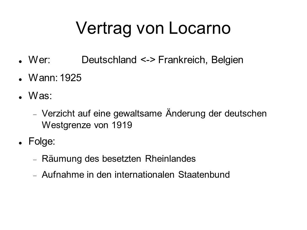 Vertrag von Locarno Wer:Deutschland Frankreich, Belgien Wann:1925 Was:  Verzicht auf eine gewaltsame Änderung der deutschen Westgrenze von 1919 Folge