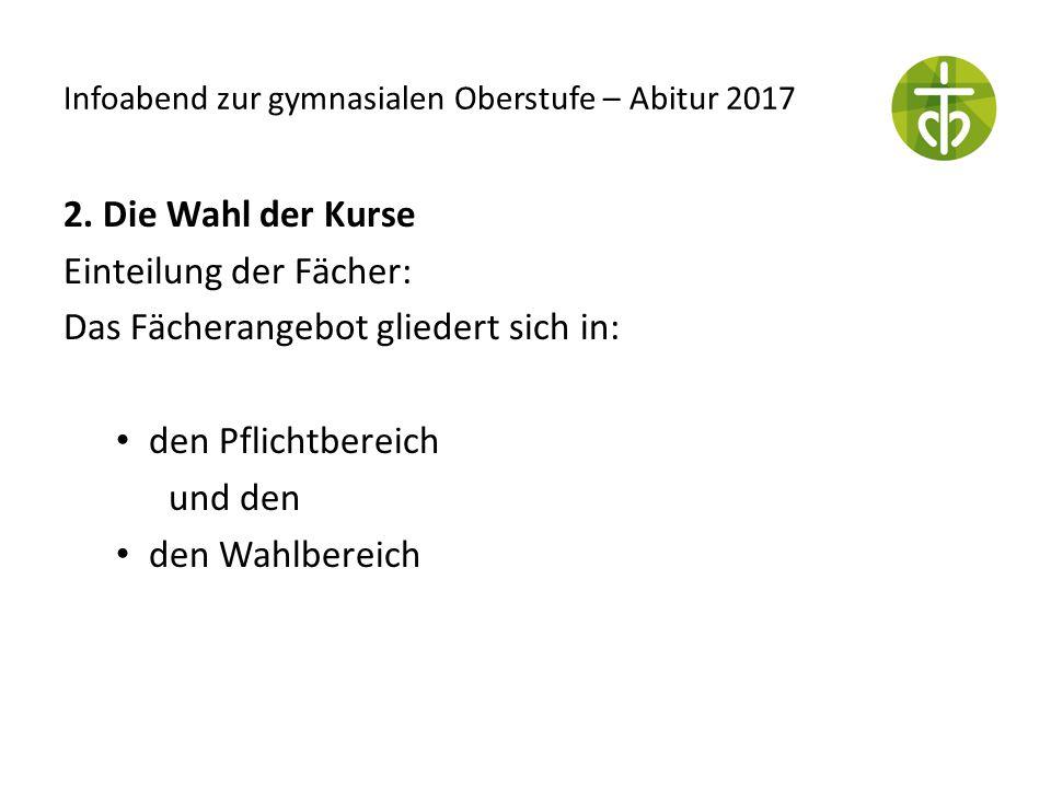 Infoabend zur gymnasialen Oberstufe – Abitur 2017 2. Die Wahl der Kurse Einteilung der Fächer: Das Fächerangebot gliedert sich in: den Pflichtbereich
