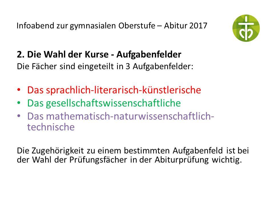 Infoabend zur gymnasialen Oberstufe – Abitur 2017 2. Die Wahl der Kurse - Aufgabenfelder Die Fächer sind eingeteilt in 3 Aufgabenfelder: Das sprachlic
