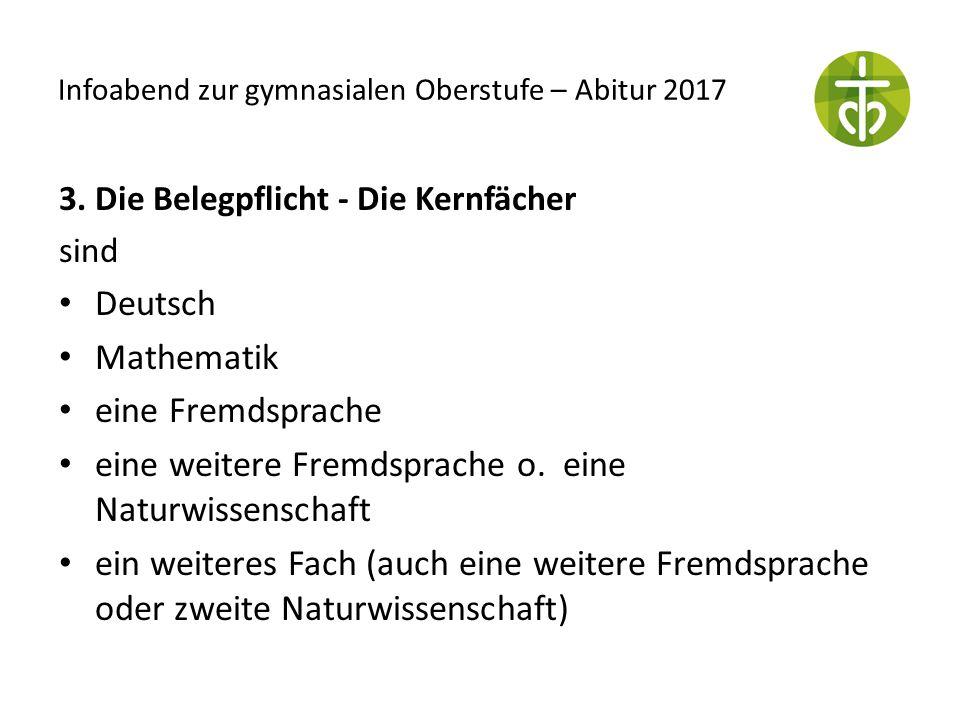 Infoabend zur gymnasialen Oberstufe – Abitur 2017 3. Die Belegpflicht - Die Kernfächer sind Deutsch Mathematik eine Fremdsprache eine weitere Fremdspr