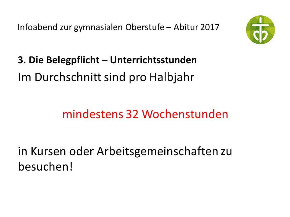 Infoabend zur gymnasialen Oberstufe – Abitur 2017 3. Die Belegpflicht – Unterrichtsstunden Im Durchschnitt sind pro Halbjahr mindestens 32 Wochenstund